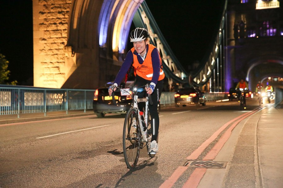 Louise on her bike during her night ride.