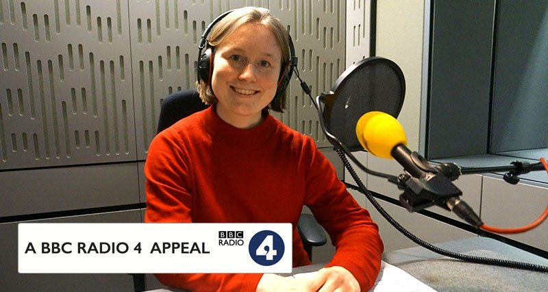 Cecily in the studio for BBC Radio 4 Appeal
