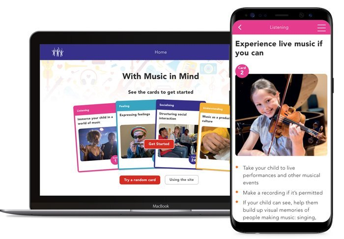 Desktop and mobile previews of the With Music in Mind website